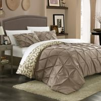 Chic Home Tirina 3-Piece King Reversible Duvet Cover Set in Taupe