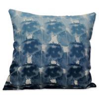 E by Design Beach Clouds Geometric Print Square Throw Pillow in Blue