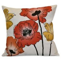 Poppies Floral Print Square Throw Pillow in Orange