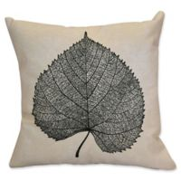 E by Design Leaf Study Floral Print Square Throw Pillow in Black