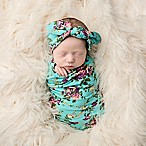 Tiny Blessings Boutique Size 0-6M 2-Piece Floral Swaddle Blanket and Headband Set in Aqua/Purple