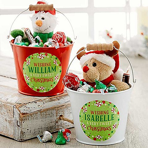 Sweet christmas mini metal bucket buybuy baby for Christmas tin pails