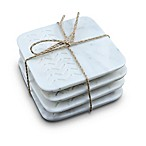 Thirstystone® Square Marbled Etched Arrow Coaster in White (Set of 4)