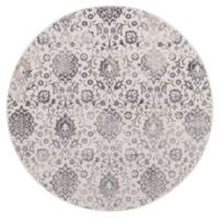 Lara Soft Damask 5-Foot 3-Inch Round Area Rug in Ivory