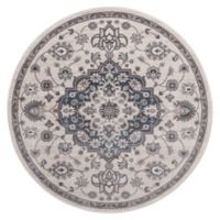 Lara Center Medallion 5-Foot 3-Inch Round Area Rug in Ivory/Blue