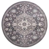 Lara Center Medallion 5-Foot 3-Inch Round Area Rug in Grey