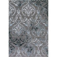 Thema Large Damask 6-Foot 7-Inch x 9-Foot 3-Inch Area Rug in Teal/Grey