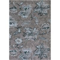 Thema Jacobean 6-Foot 7-Inch x 9-Foot 3-Inch Area Rug in Teal Grey