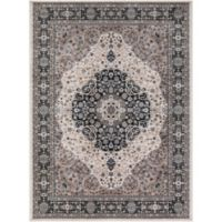Kashan Medallion 3-Foot 3-Inch x 4-Foot 7-Inch Accent Rug in Ivory