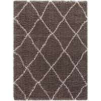 Ocean Trellis 6-Foot 7-Inch x 9-Foot 3-Inch Shag Area Rug in Light Brown