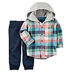 carter's® Size 3M 2-Piece Plaid Flannel Hoodie and Pant Set