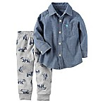 carter's® Size 12M 2-Piece Shirt and Jogger Pant Set in Chambray/Grey