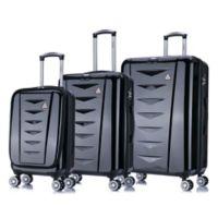 InUSA Airworld 3-Piece Hardside Spinner Luggage Set in Black