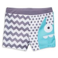 Doodle Pants Small Monster Swim Trunks in Blue