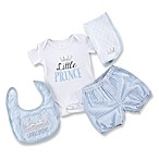 "Baby Aspen Size 0-6M 4-Piece ""Little Prince"" Bodysuit and Short Gift Set in Blue"