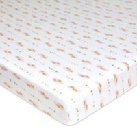TL Care Feather Print Jersey Knit Fitted Playard Sheet in Gold/Pink