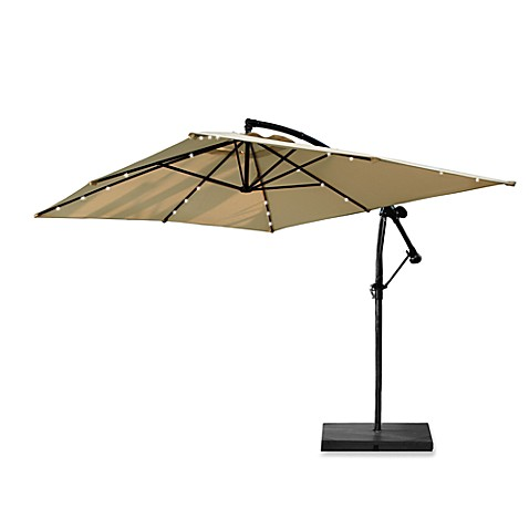 13 6 Foot Rectangular Solar Lighted Cantilever Umbrella