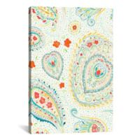 Watercolor Paisley 18-Inch x 12-Inch Canvas Wall Art in Teal