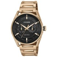 Citizen Drive Men's 42mm Watch in Rose Goldtone Stainless Steel with Black Dial