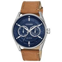Citizen Drive Men's 42mm Watch in Stainless Steel with Brown Leather Strap and Blue Dial