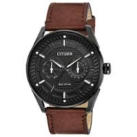 Citizen Drive Men's 42mm Watch in Black Ion-Plated Stainless Steel w/ Brown Leather Strap/Black Dial