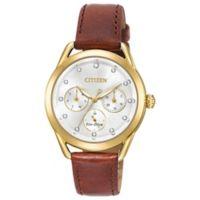 Citizen Drive Ladies' Swarovski® Crystal Watch Goldtone Stainless Steel Brown Leather Strap