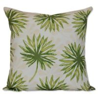 E by Design Spike and Stamp Floral Print Square Throw Pillow in Green