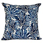 E by Design Palm Leaves Square Throw Pillow in Blue