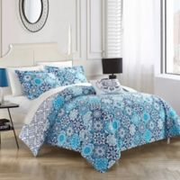 Chic Home Linden Reversible Queen Duvet Cover Set in Blue