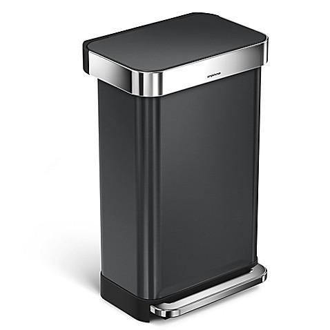 simplehuman 45 liter rectangular step trash can with liner pocket in black bed bath beyond. Black Bedroom Furniture Sets. Home Design Ideas