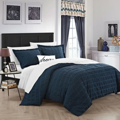 Superb Chic Home Calamba Queen Duvet Cover Set In Navy