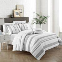 Chic Home Wiltshire Queen Duvet Cover Set in Grey