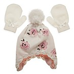 Little Me® Newborn Vintage Rose Hat and Mitten Set in Ivory