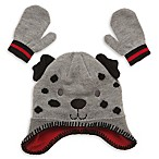 Little Me® Infant 2-Piece Puppy Pilot Hat and Mitten Set in Grey