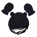 Little Me® Infant 2-Piece Boa Pilot Hat and Mitten Set in Navy