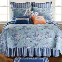 Hampstead Toile King Reversible Quilt in Blue