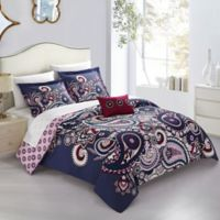 Chic Home Chiyo 4-Piece Reversible Queen Duvet Cover Set in Blue