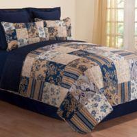 Mazarine Twin Reversible Quilt Set in Blue