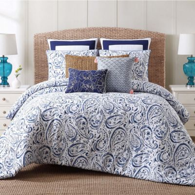 indienne paisley fullqueen duvet cover set in bluewhite