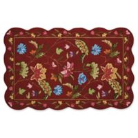 Nourison Everywhere Floral Border Scallop 3-Foot 3-Inch x 5-Foot Area Rug in Red