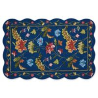 Nourison Everywhere Floral Border Scallop 3-Foot 3-Inch x 5-Foot Area Rug in Navy