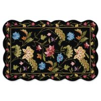 Nourison Everywhere Floral Border Scallop 3-Foot 3-Inch x 5-Foot Area Rug in Black