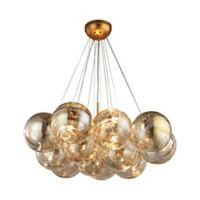 Dimond Lighting Cielo 3-Light Chandelier with Amber Glass Globes in Antique Gold Leaf