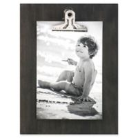 Rustic Clipper 4-Inch x 6-Inch Wood Clip Picture Frame in Charcoal