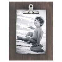 Rustic Clipper 4-Inch x 6-Inch Wood Clip Picture Frame in Grey