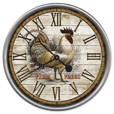 Red Horse Arts Rooster Time 15 Inch Wall Clock