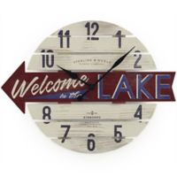 "Sterling & Noble™ 16-Inch ""Welcome to the Lake"" Wood Wall Clock"
