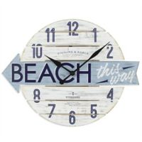 "Sterling & Noble™ 16-Inch ""Beach this Way"" Wood Wall Clock"