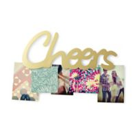 "Umbra® ""CHEERS"" 5-Photo Clip in Gold Brass"