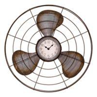 La Crosse Technology 16.5-Inch Antique Fan Clock in Distressed Brown
